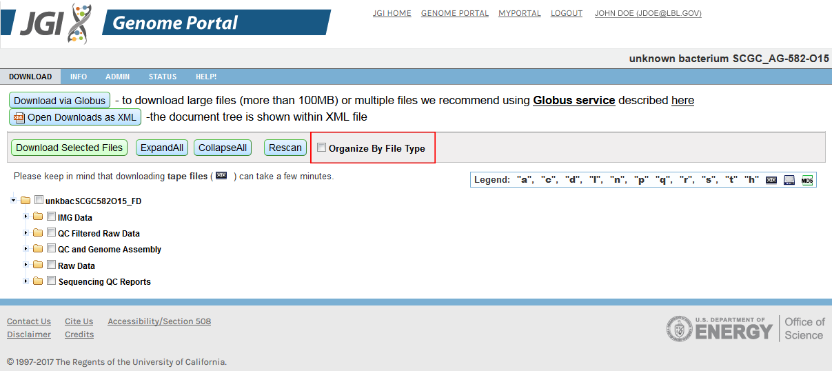 screenshot of download page with arrangement by File Type