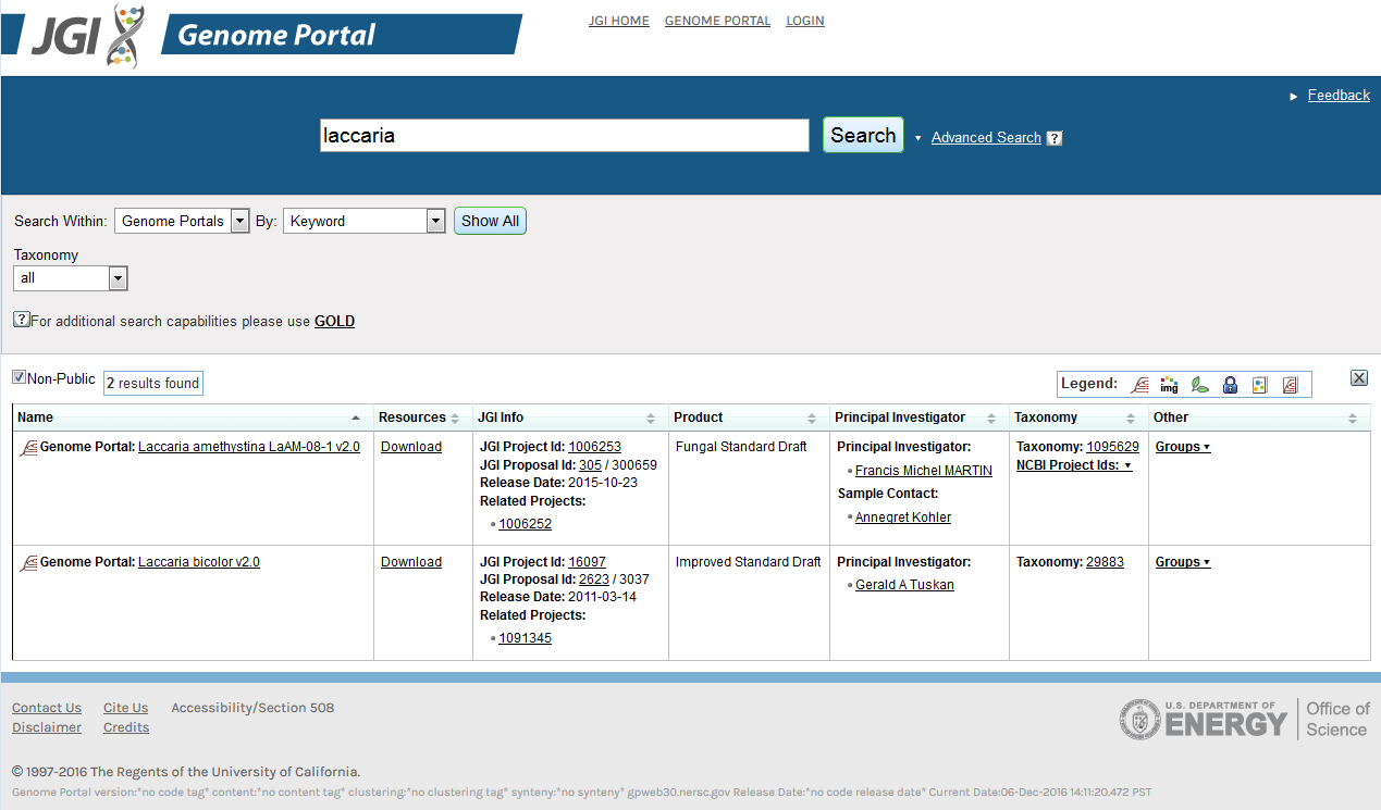 image shows the table with search results for Genome Portals